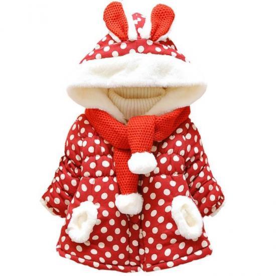 Bebe fille lapin imprime de polka dots manteaux bl